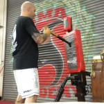 Sifu Mike training on a piece of equipment designed by Bruce Lee